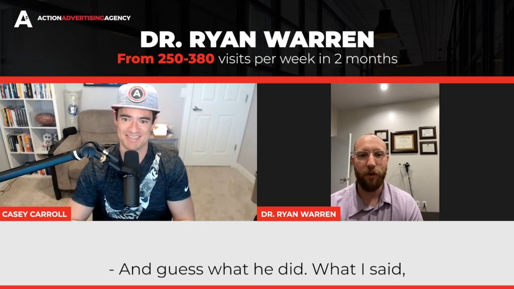 Dr Ryan Warren from 250 to 380 visits per week in 2 months